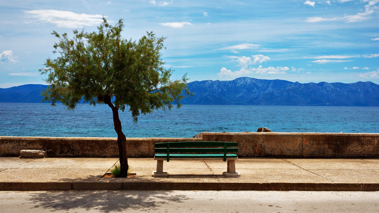Adriatic sea view with a bench